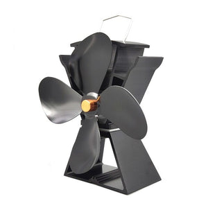Household Quiet Fireplace Fan 4 Blade Heat Powered