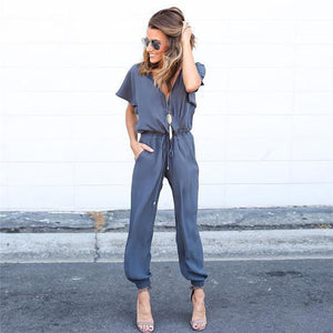 Ladies Polyester Casual Summer Spring Fashion Jumpsuit