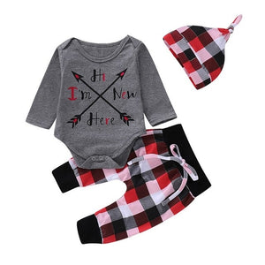 autum Baby Letter Arrow Printed Romper Plaid Pants
