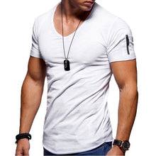 Load image into Gallery viewer, New men's V-neck T-shirt fitness bodybuilding T-shirt high street summer short-sleeved zipper casual cotton top