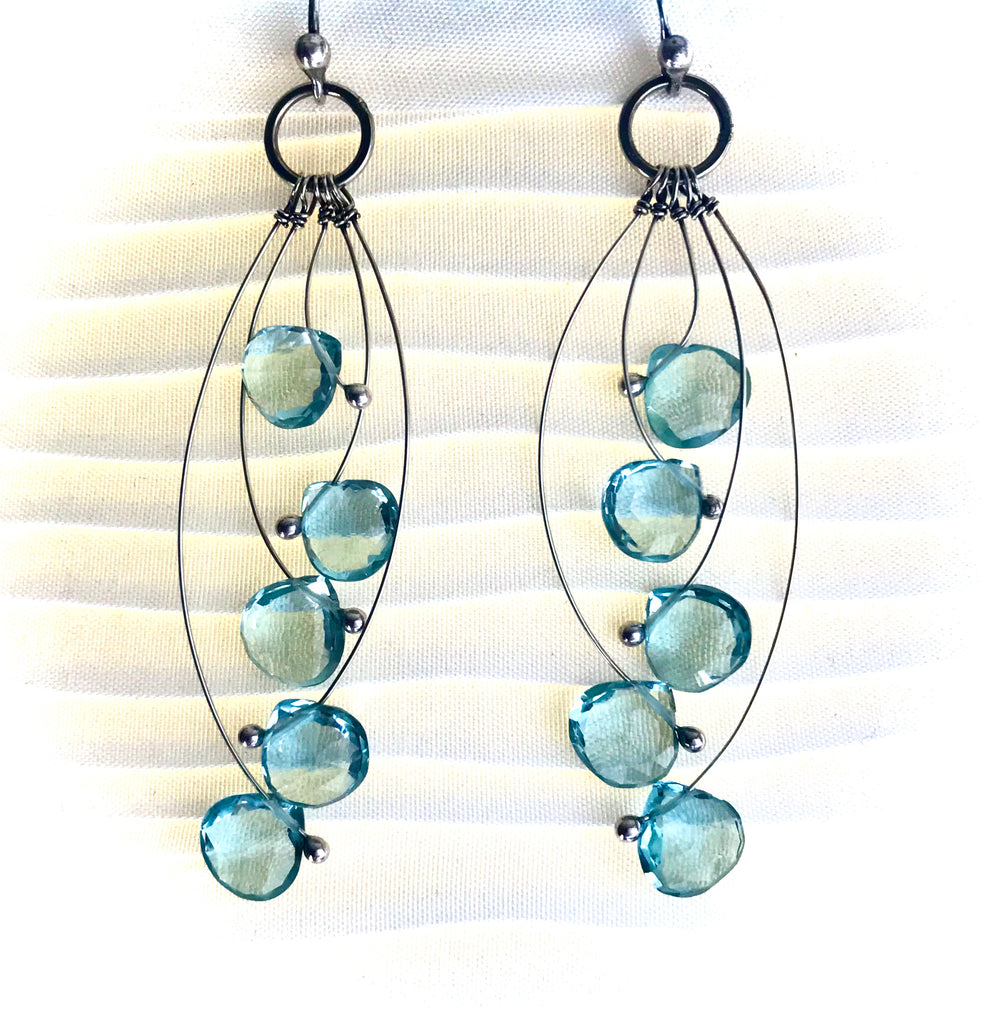 Aqua quartz 5 stone and sterling earrings