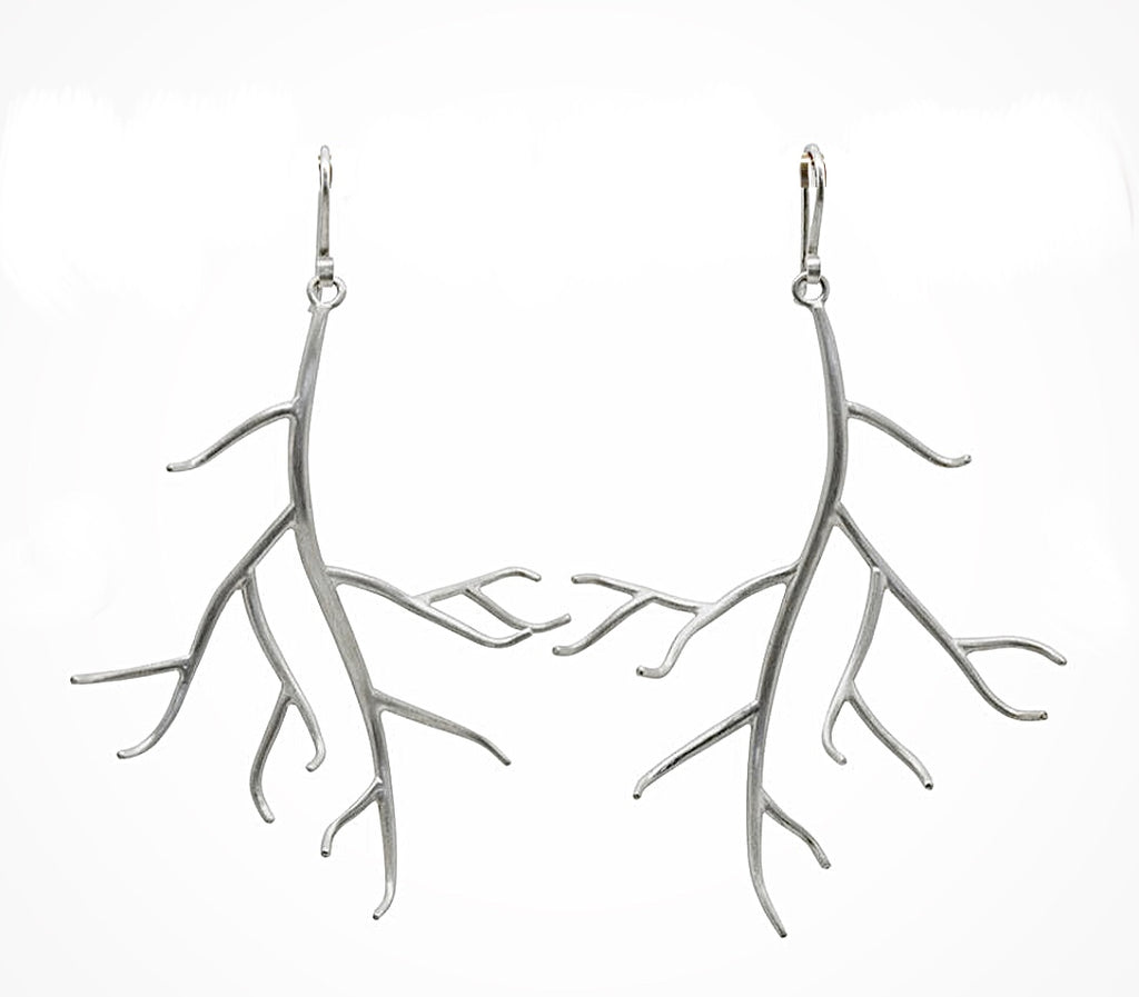 Tree Branch Earrings in Brushed Sterling Silver