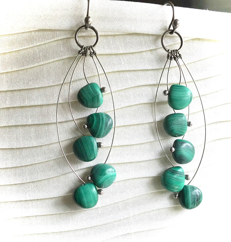 Malachite in sterling earrings