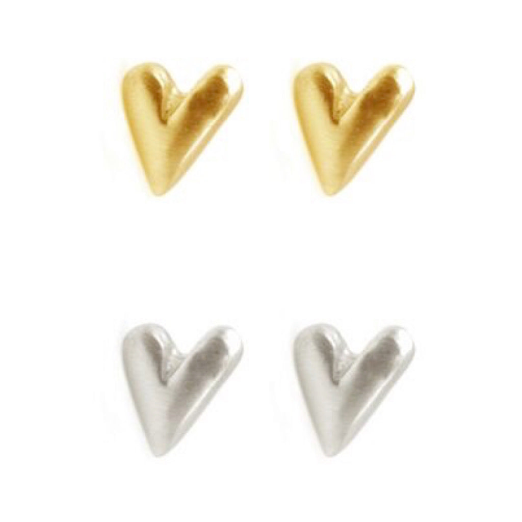 Tiny Heart Post Sterling or Vermeil Earrings
