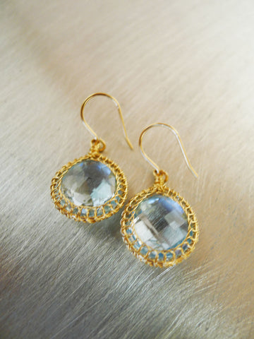 Blue Topaz Earrings & 14k GF