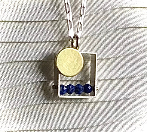 Blue Lapis necklace with 18K bimetal in brushed sterling