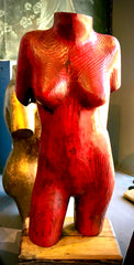 Hand Carved Female Torso Sculpture by Barre Pinske