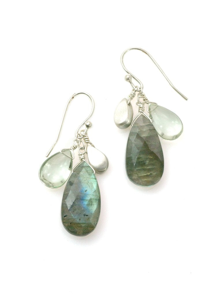 Labradorite, Green Amethyst and Sterling Silver Cluster Earrings by Philippa Roberts