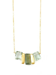 Labradorite and Green Amethyst Silver Necklace by Philippa Roberts