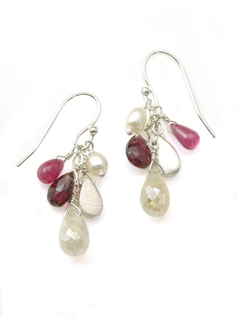 Ruby, Pearl and Tourmaline Cluster Earrings by Philippa Roberts