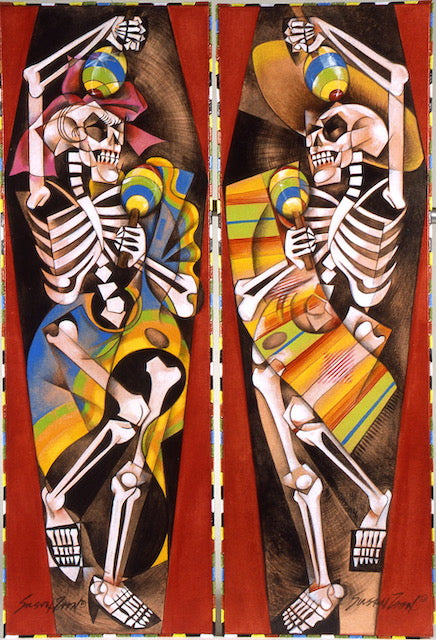 """Bone Bop"" Diptych  Acrylic on canvas by Susan Zoon. 12""x36"""