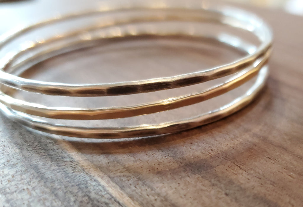 Hammered Oxidized Sterling Silver and 14k GF Bangle by J&I