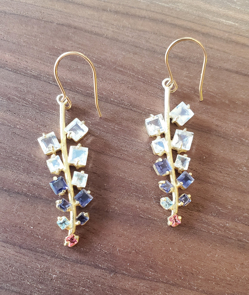 Moonstone, Iolite and Topaz Earrings with 14KGF