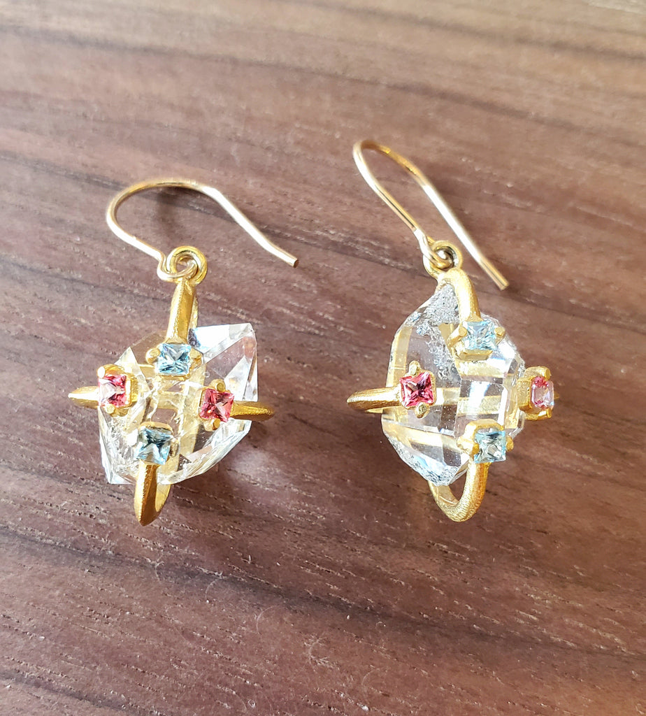 Handcrafted Herkimer Diamond Earrings with Topaz, GF by Misha of NY