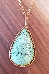 One-of-a-kind Turquoise Necklace with 14KGF Wire