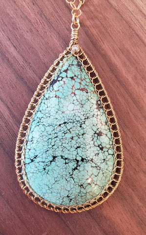 Handcrafted Turquoise Necklace with 14KGF and Sterling Silver Wire by Misha of NY