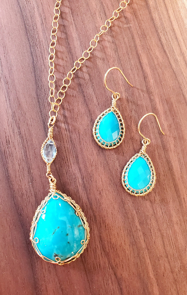 Handcrafted Turquoise Earrings with 14KGF Wire by Misha of NY