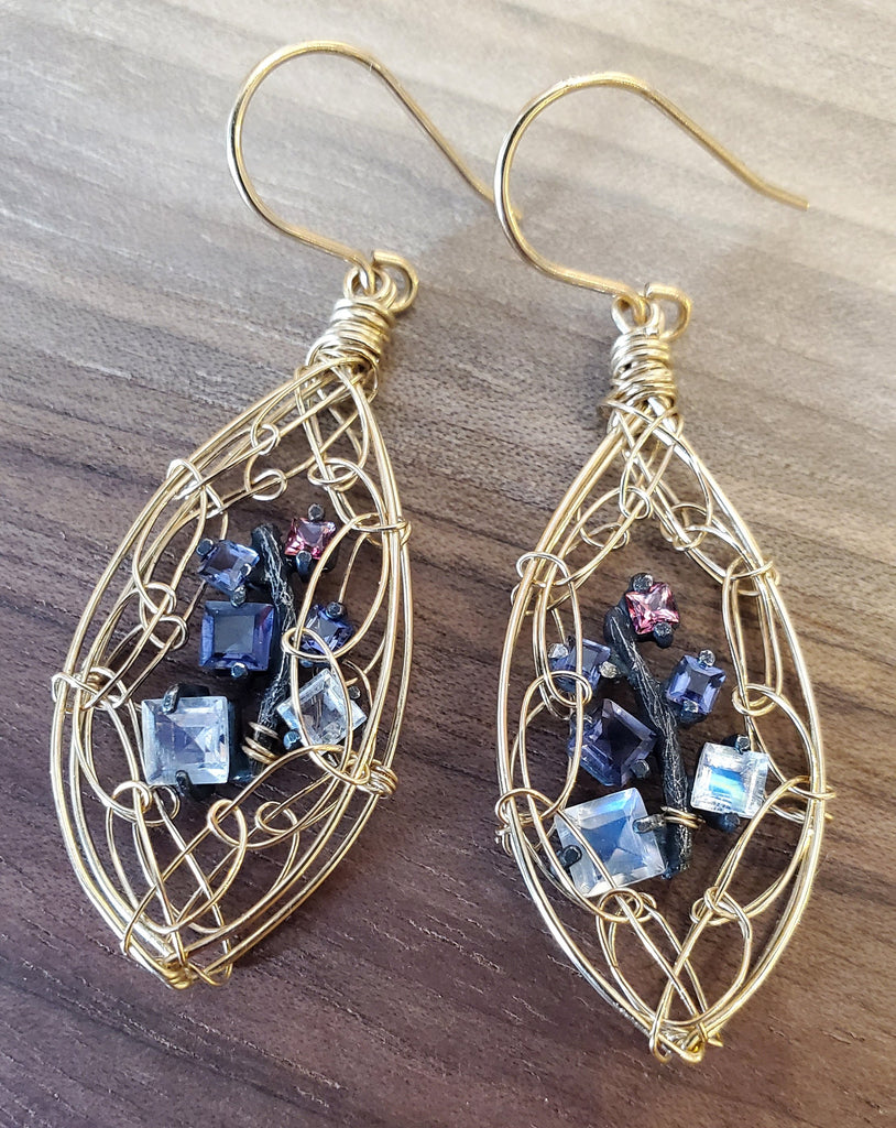 Handcrafted Labradorite 14KGF and Sterling  Silver Wire Earrings by Misha of NY