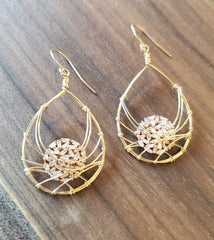 Handcrafted 14K Gold Hook Wire Earrings with Diamonds by Misha of NY