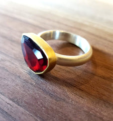 Garnet, Sterling Silver and 22k Gold Ring by Heather Guidero