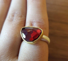 Faceted Red Garnet in 22k Gold and brushed sterling ring