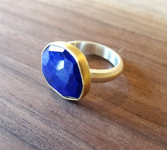 Stunning Lapis Lazuli in 22k Gold and brushed sterling ring