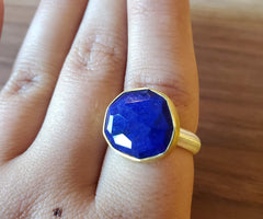 Lapis, Sterling Silver and 22k Gold Ring by Heather Guidero