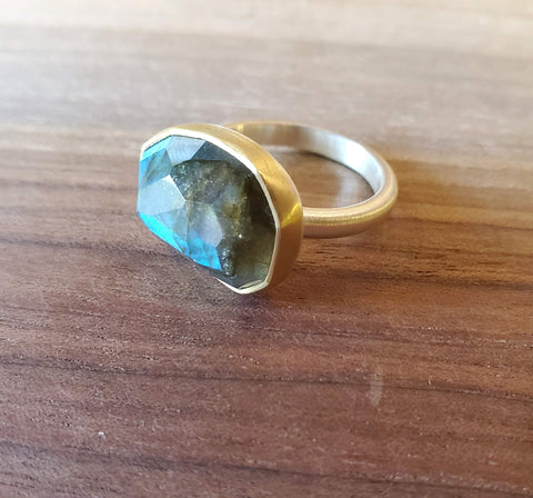 Labradorite, Sterling Silver and 18k Gold Ring by Heather Guidero