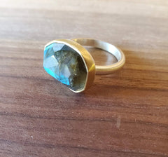 Luminous Labradorite in 18k Gold and Brushed sterling Ring