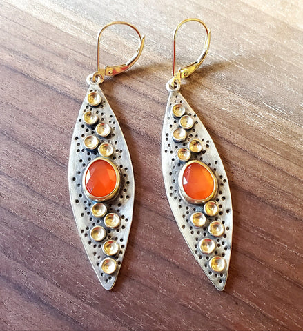 18K Gold,  Sterling Silver and Carnelian Earrings by Guki Khalsa