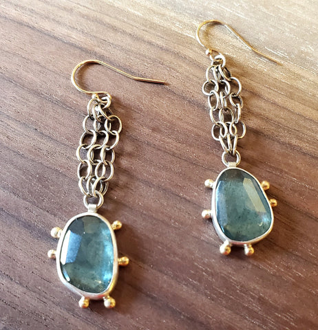 Moss Aqua 14K Gold and Sterling Silver Earrings by Guki Khalsa