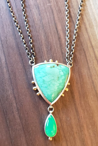 14k Gold, Sterling Silver and Chrysoprase Necklace by Guki Khalsa