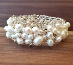 Sterling Silver & Fresh Water Pearl's Bracelet Hand Wired Metal Lace by Kathryn Stanko