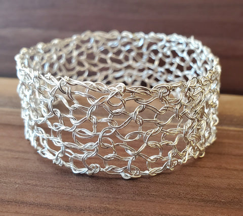 "Fine Silver 1"" Bangle Handwired Metal Lace by Kathryn Stanko"