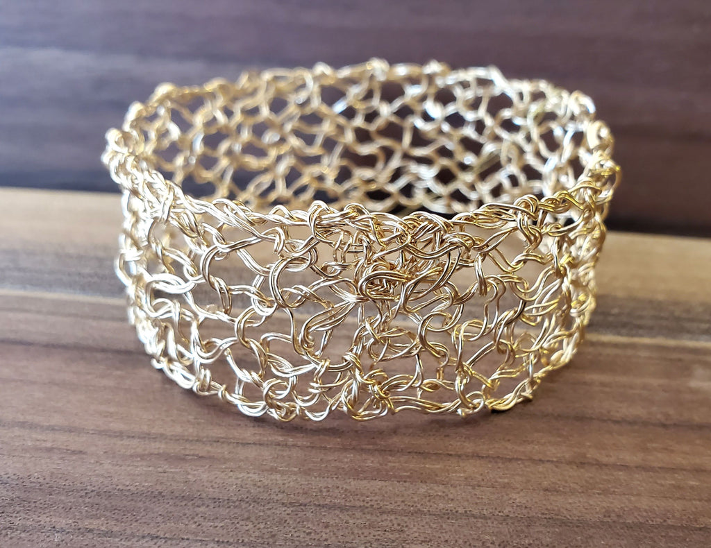 "14k Gold Fill 1"" Bangle Handwired Metal Lace by Kathryn Stanko"