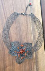 Sterling Silver and Carnelian Handwired Metal Lace by Kathryn Stanko