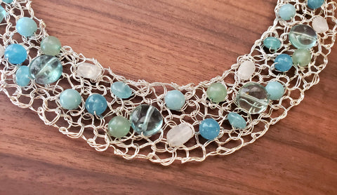 Fine Silver,  Amazonite, Angelite, Fluorite, Aventurine Handwired Metal Lace by Kathryn Stanko