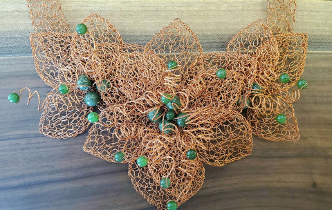 Copper & Jade Hand Wired Metal Lace Necklace