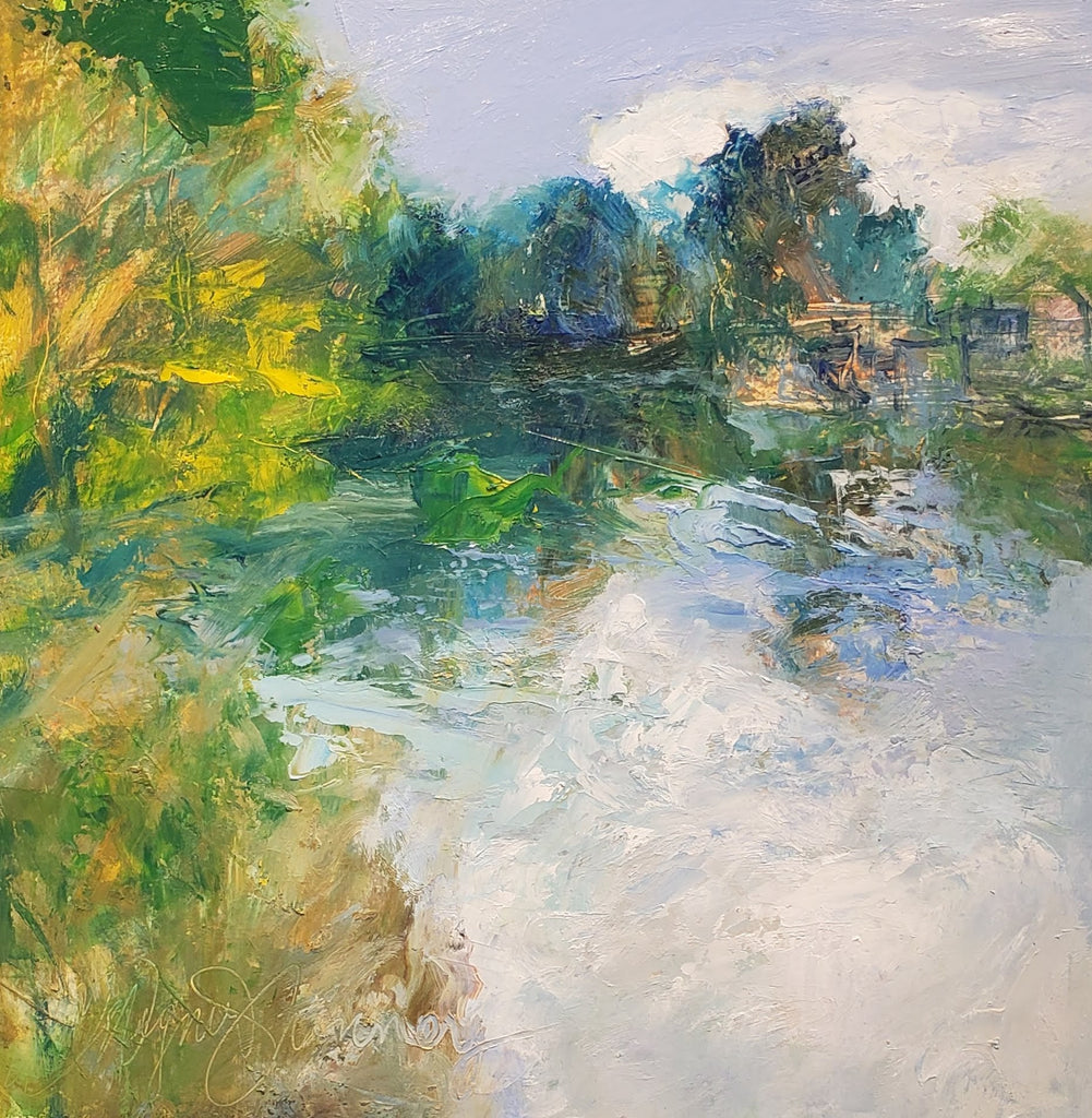 Lock 5 #2 12x12 oil on canvas by Catherine Wagner Minnery