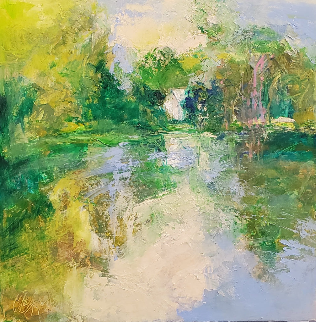"""Lock 5/White House""  12x12 oil on canvas by Catherine Wagner Minnery"