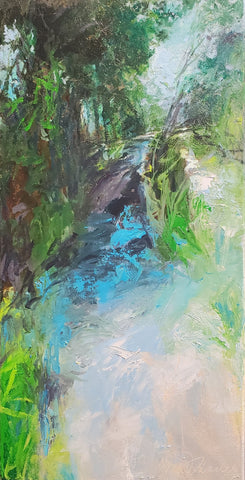 Canal Path 20x20 oil on canvas by Catherine Wagner Minnery