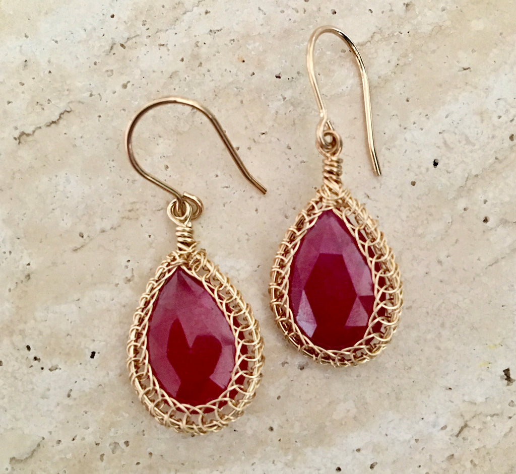Ruby and 14KGF Earrings