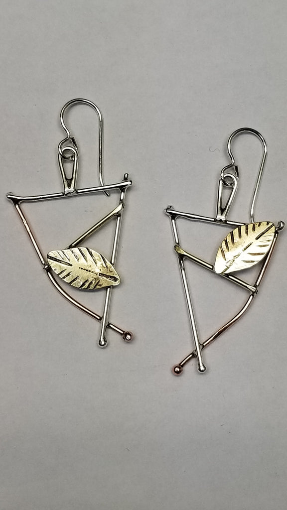 Sterling and mixed metal earrings 'Dancing Leaves'