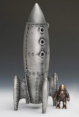 Bronze & Cast Aluminum Moon Rocket Bank/Sculpture w/ Spaceman