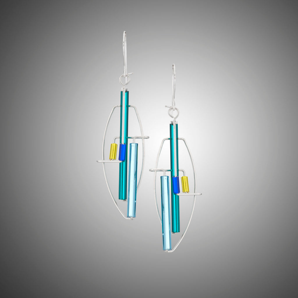 Contemporary sterling and glass sculptural earrings