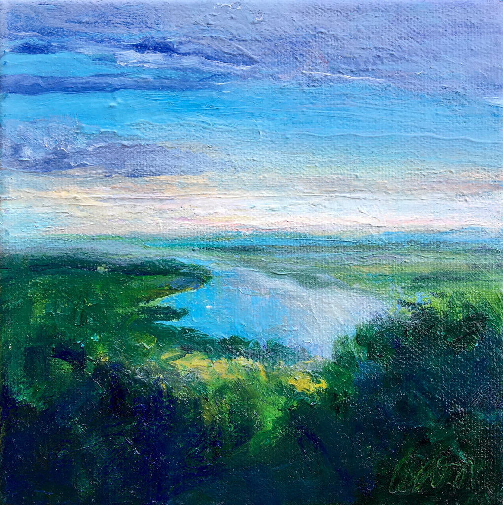 """Olana Sunset""  6x6 oil on canvas by Catherine Wagner Minnery"
