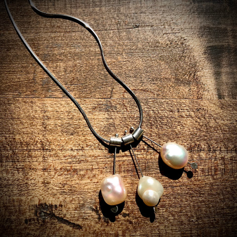 Organic Pearl and Sterling Silver Necklace