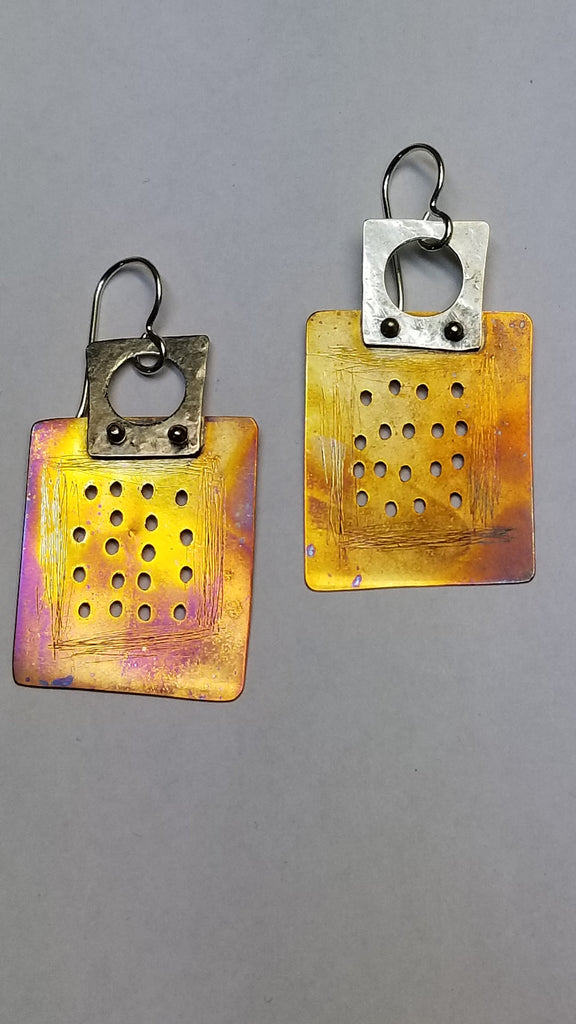 Mixed Metal 'Homage to the square' earrings