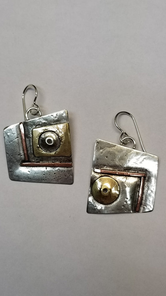 Sterling 'Strong Character' earrings in sterling, copper and brass