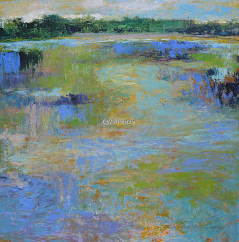 """Wetland With Yellow Sky""  31x31 (framed) oil on paper by Catherine Wagner Minnery"